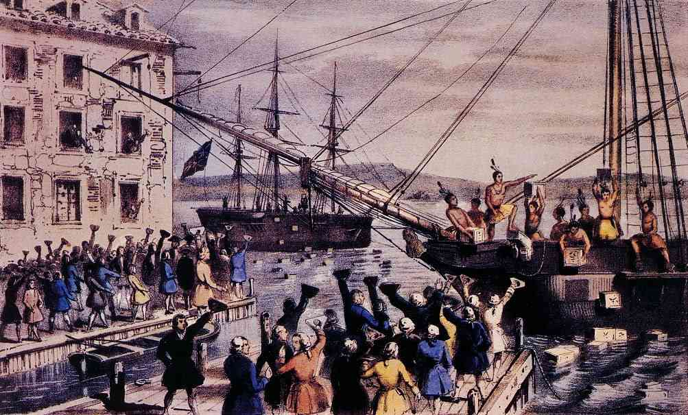 The Destruction of the Tea at Boston Harbor  by Nathaniel Currier, 1846