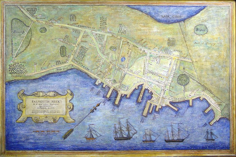 The Burning of Falmouth Map by Mildred Burridge