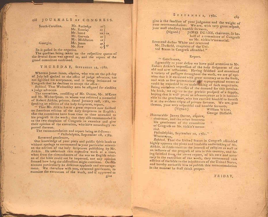 Journal of Congress, September 12, 1782