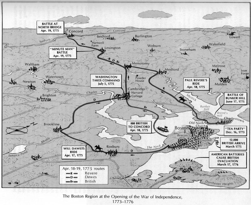 Map showiong the routes of William Dawes and Paul Revere