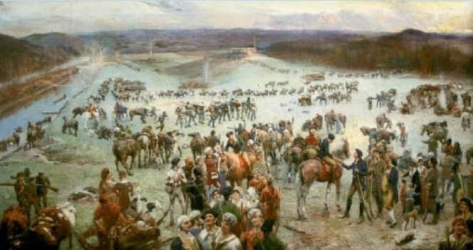 Gathering of the Overmountain Men at Sycamore Shoals by Lloyd Branson