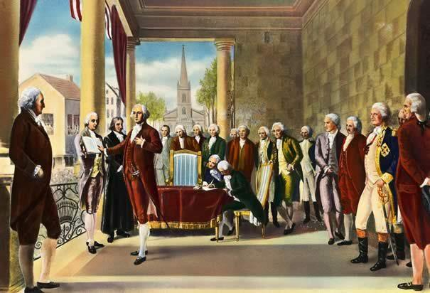 George Washington's Inauguration as the First President of the United States  by Ramon de Elorriaga