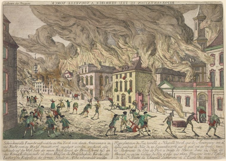 The Great Fire of New York, 1776 by Franz Xaver Habermann
