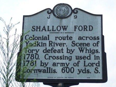 Shallow Ford Marker, Yadkin River, North Carolina