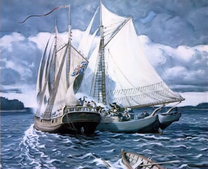 Sloop Unity and the Schooner Margaretta by Robert L. Lambdin