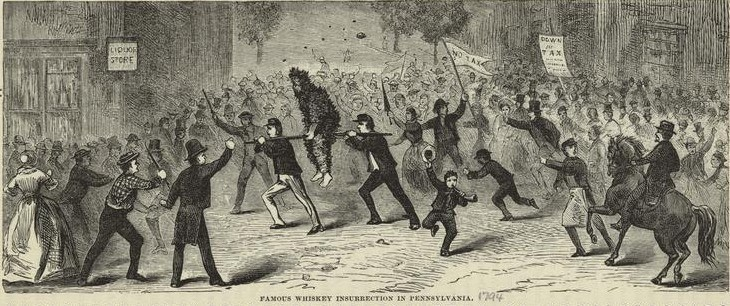 An official being tarred and feathered during the Whiskey Rebellion