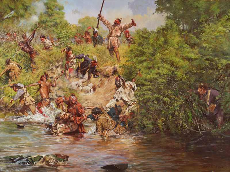 Ensign Downing's Escape - Battle of Wyoming (July 3, 1778) by artist Don Troiani