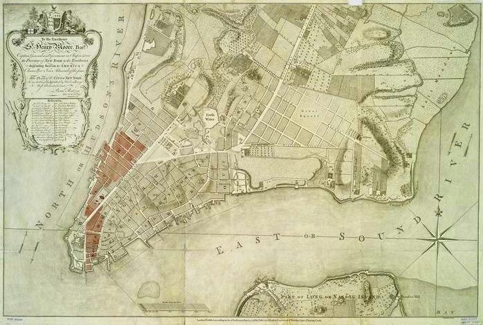 Great Fire of New York Map by Bernard Ratzer