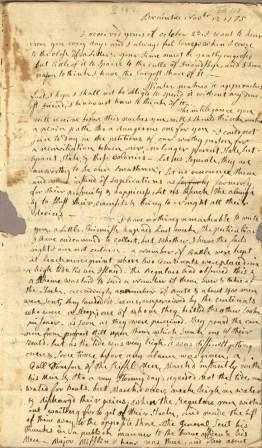 First page of Abigail Adams' letter to John Adams, November 12, 1775