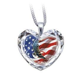 American Pride Crystal Heart Necklace