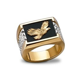 Sterling Silver & Onyx Bald Eagle Men's Ring