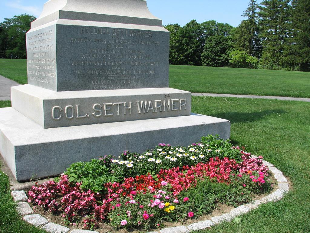 Base of Seth Warner Statue, Battle of Bennington Monument,  Bennington, Vermont