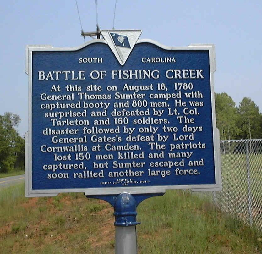 Battle of Fishing Creek marker