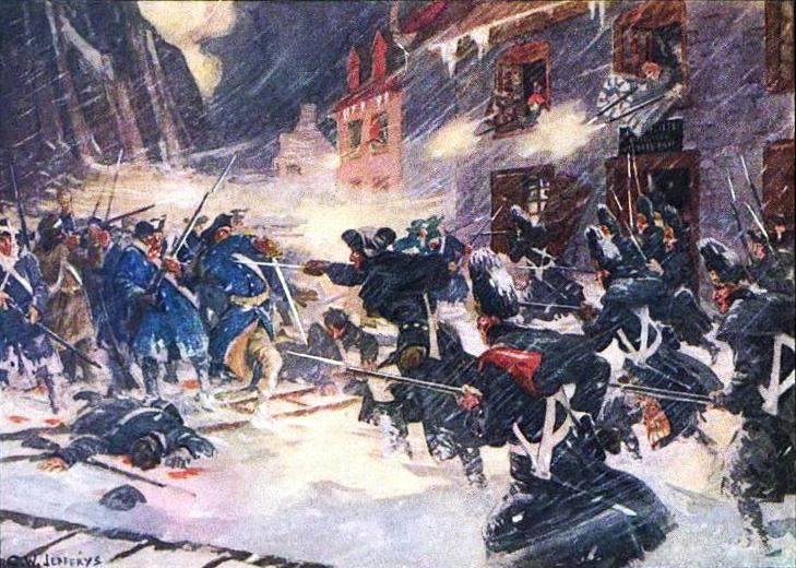 Battle of Quebec, 1775. Full title: Canadian militiamen and British soldiers repulse the American assault at Sault-au-Matelot