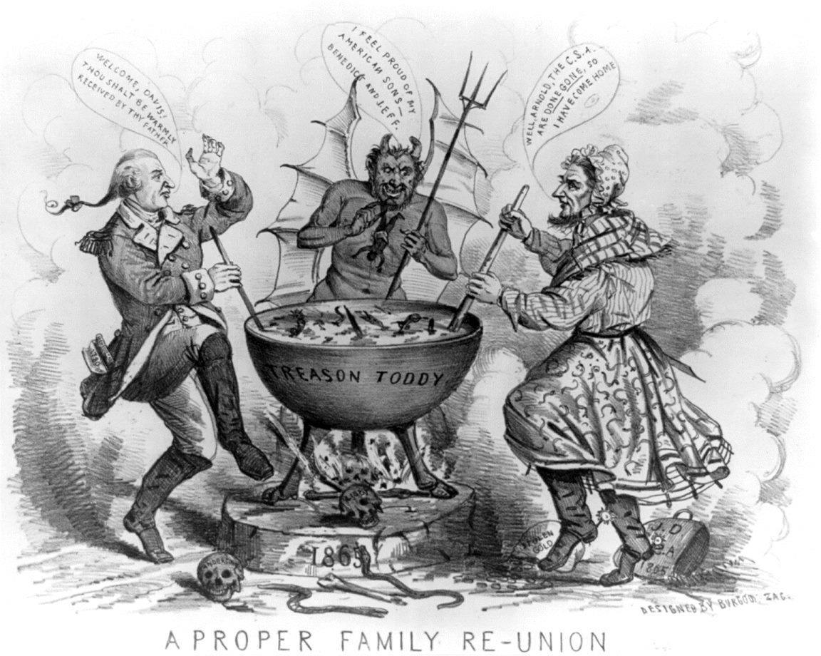 A Civil War era cartoon depicting Benedict Arnold and Jefferson Davis in hell with the devil
