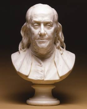 Benjamin Franklin bust by Jean Antoine Houdon