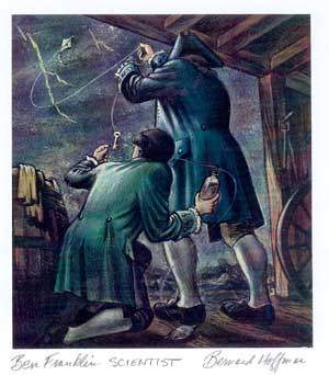 Ben Franklin's Kite Experiment  by Bernard Hoffman