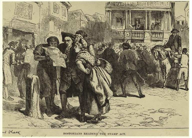 Bostonians reading the Stamp Act