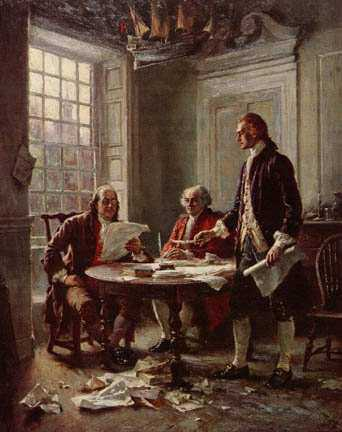 Committee of Five - Shows Jefferson, Adams and Franklin working on the Declaration of Independence
