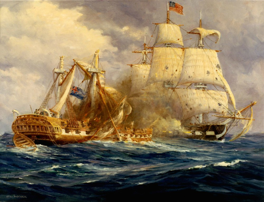 Constitution and Guerriere at Battle by Anton Otto  Fischer