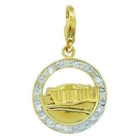 14k Gold and Diamond White House Charm