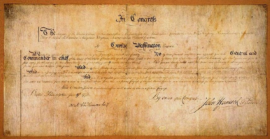 George Washington's Commission as Commander-in-Chief signed by President of Continental Congress John Hancock