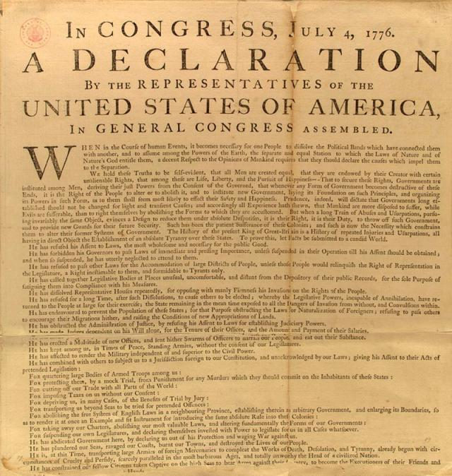 George Washington's personal copy of the Declaration of Independence