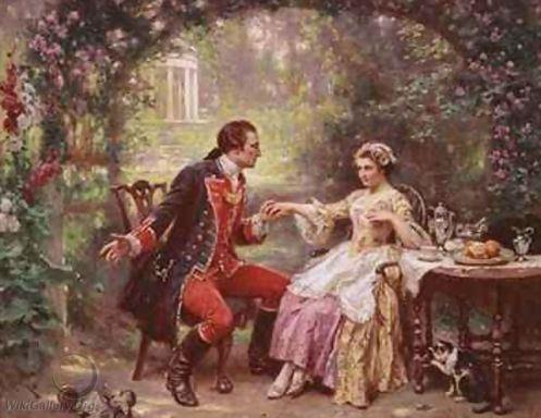 George Washington proposes to Martha by Jean Leon Jerome Ferris