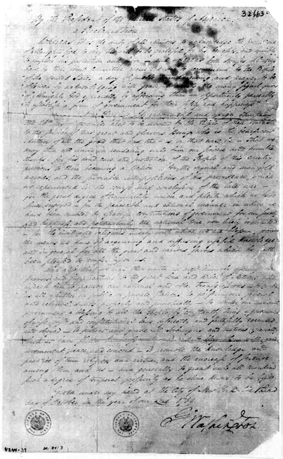 Original copy of George Washington's Thanksgiving Proclamation