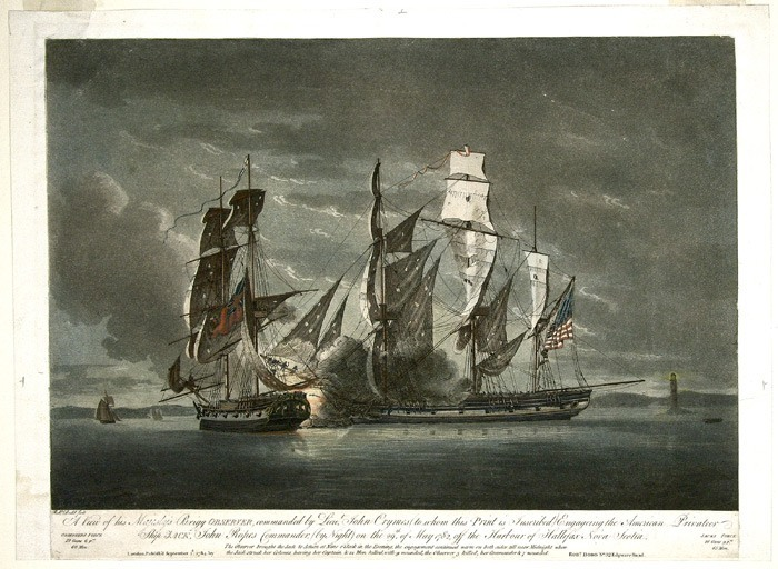 Battle between the HMS Observer and the Privateer Jack off Halifax, Nova Scotia, May 29, 1782