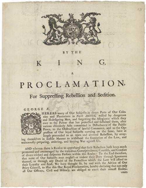 King George III's Rebellion Proclamation