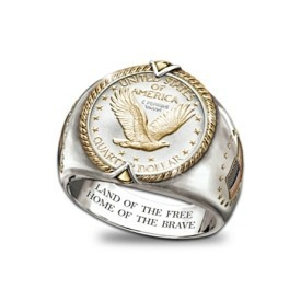 Genuine Silver Liberty Quarter Men's Ring
