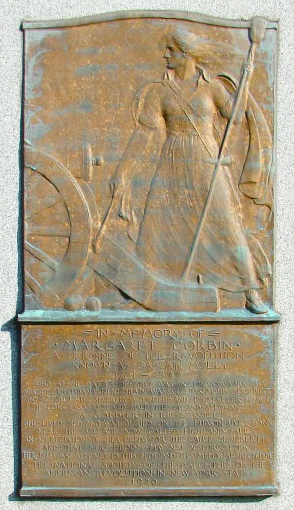 Plaque on the Margaret Cochran Corbin Monument, Fort Tryon Park, New York City