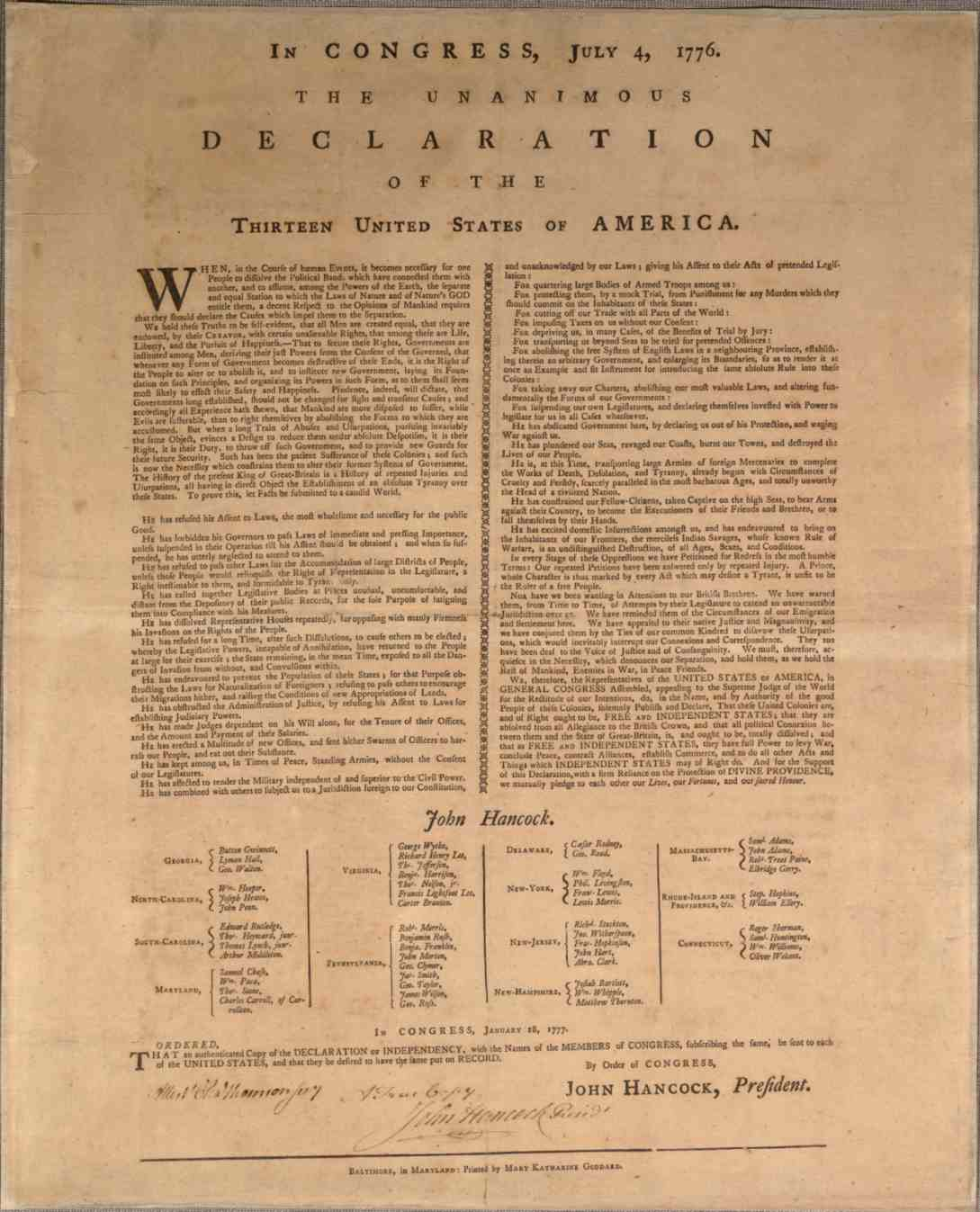 Mary Katherine Goddard Declaration of Independence