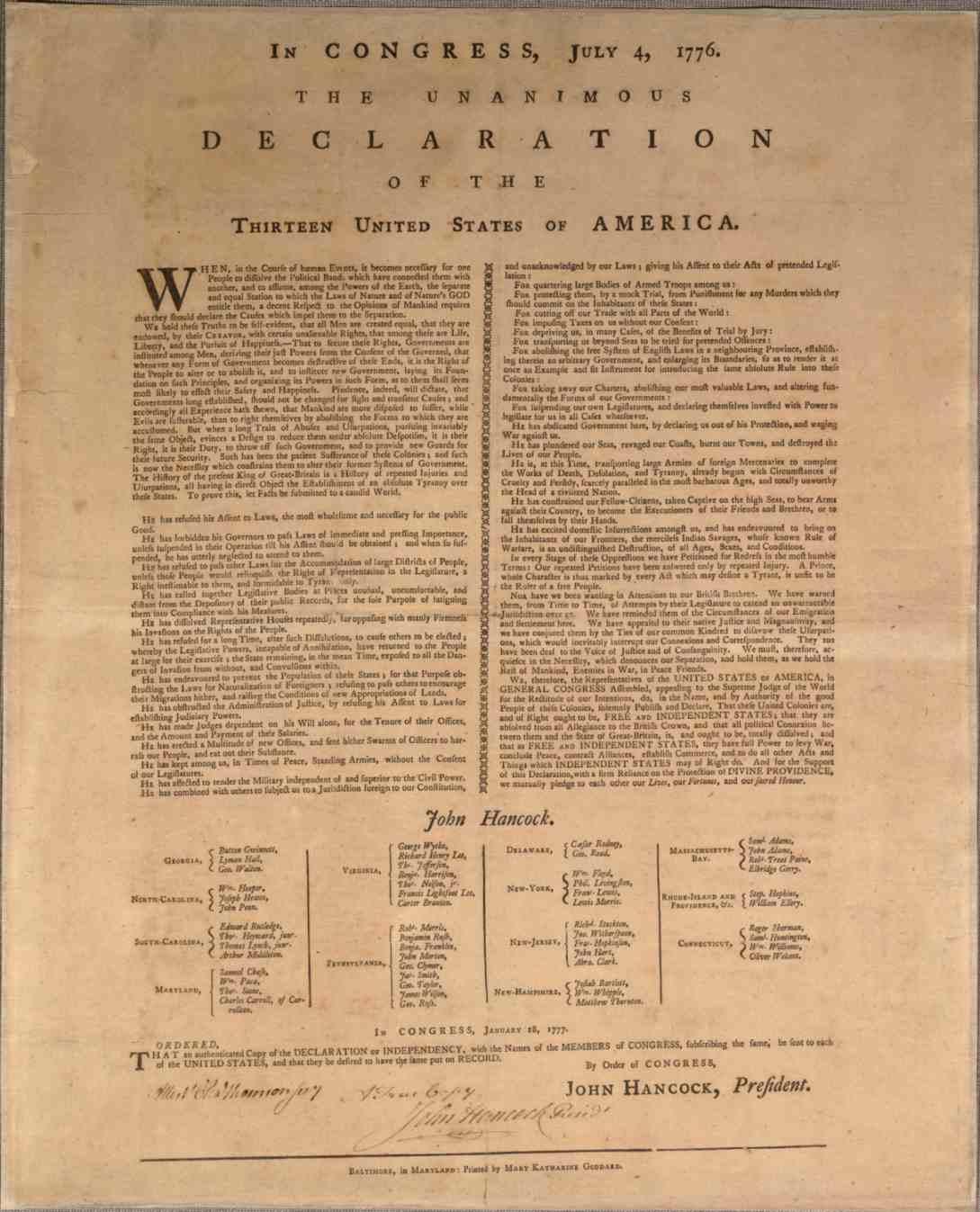 Mary Katherine Goddard Declaration of Independence