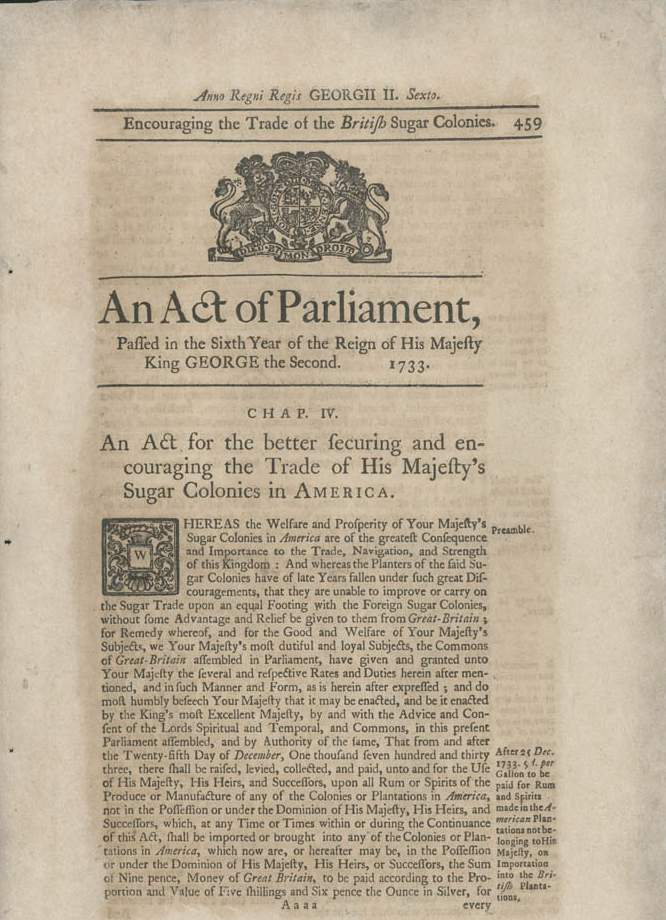 1764 reprint of the Molasses Act