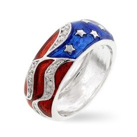 Silver Tone Patriotic Cubic Zirconia Ring