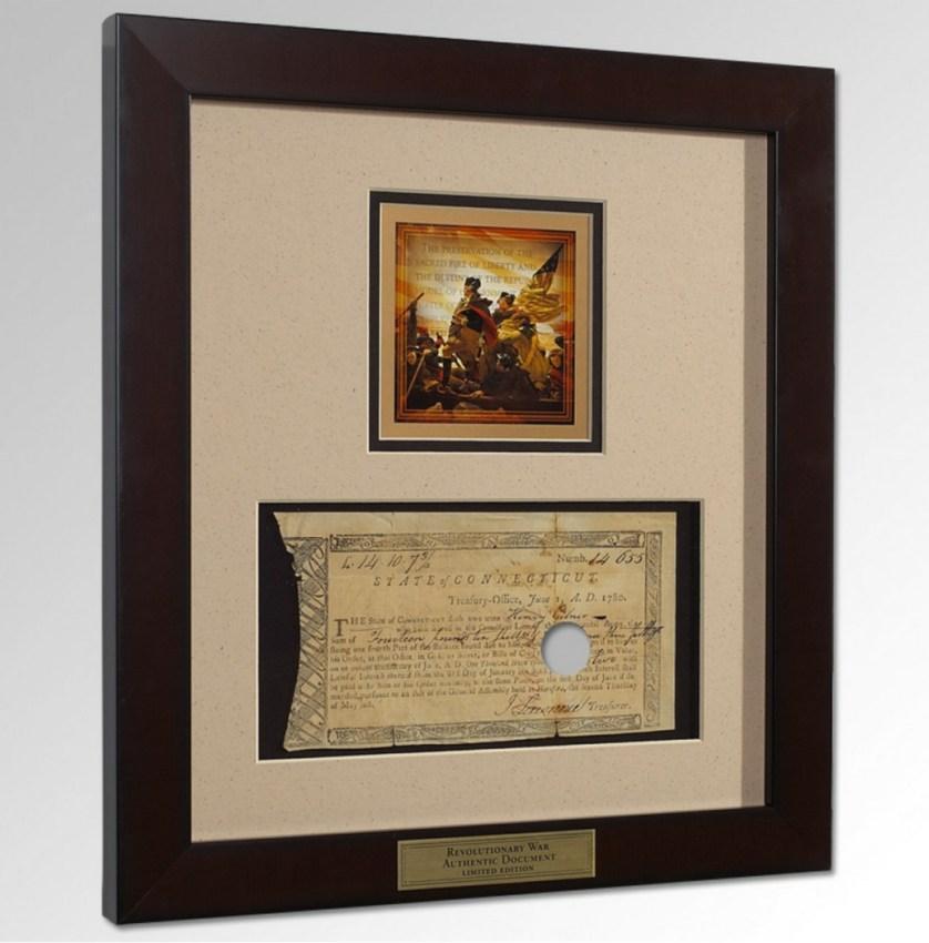 Authentic Revolutionary War Framed Pay Voucher