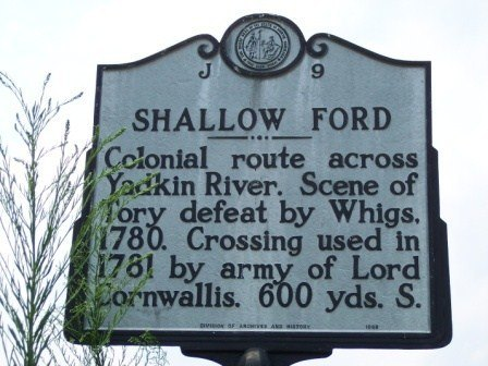 Shallow Ford Marker, Yadkin River, North Carolina