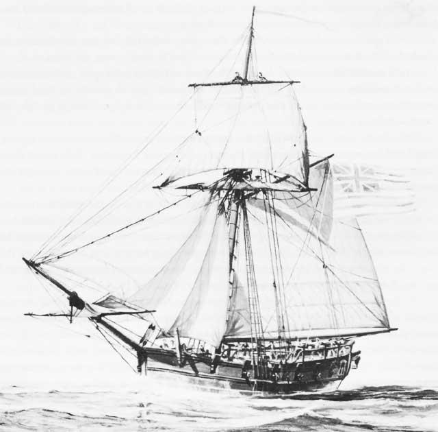 Drawing of a sloop