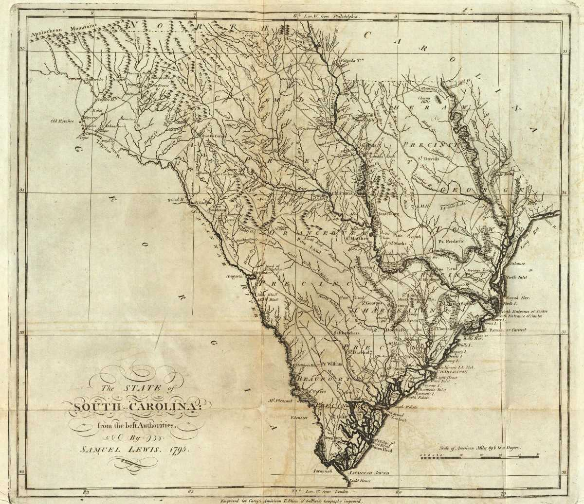 South Carolina map, ca. 1795