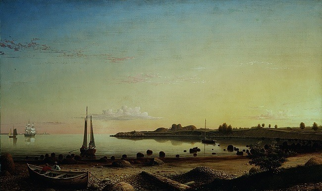 Stage Fort across Gloucester Harbor by Fitz Henry Lane