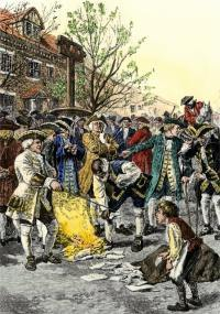 Stamp Act protestors burning stamps