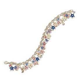 Stars and Stripes Crystal Charm Bracelet