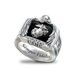 Sterling Silver & Onyx US Marines Ring