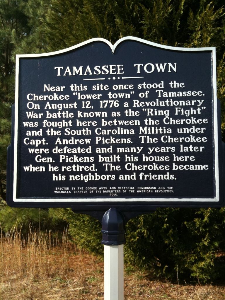 Tamassee Town Marker, Near the site of the Ring Fight