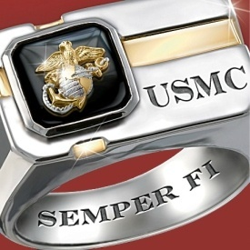 Sterling Silver & Black Onyx US Marines Ring