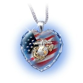 US Military Crystal Heart Necklace