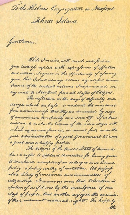Page 1 of George Washington's reply to the Newport Jewish congregation