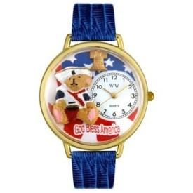 Gold Teddy Bear Patriotic Watch